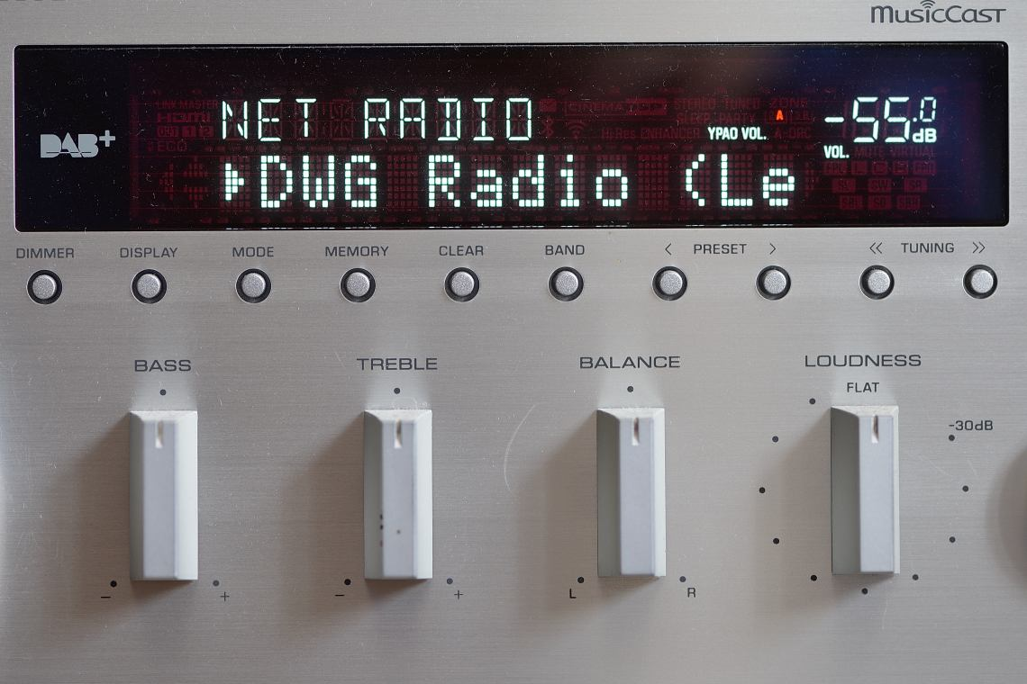 "Radio from the front with the station indicator ""DWG Radio"" in the display"